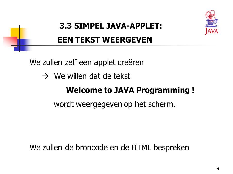10 HET JAVA PLATFORM Hello.class 1 // Fig.3.6: WelcomeApplet.java 2 // Een eerste applet in Java.