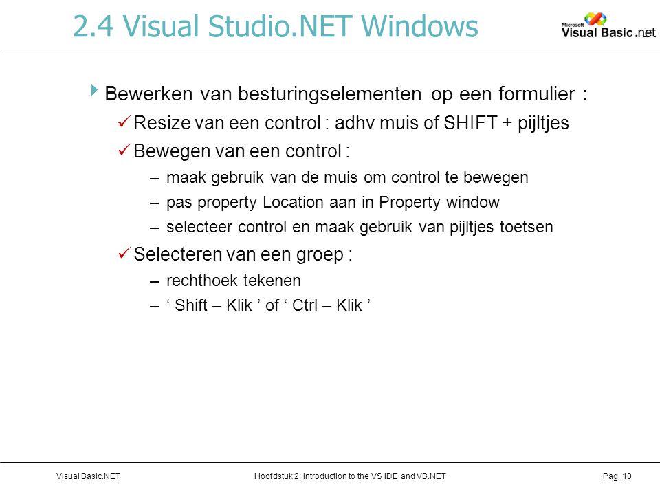 Hoofdstuk 2: Introduction to the VS IDE and VB.NETVisual Basic.NETPag. 10 2.4 Visual Studio.NET Windows  Bewerken van besturingselementen op een form