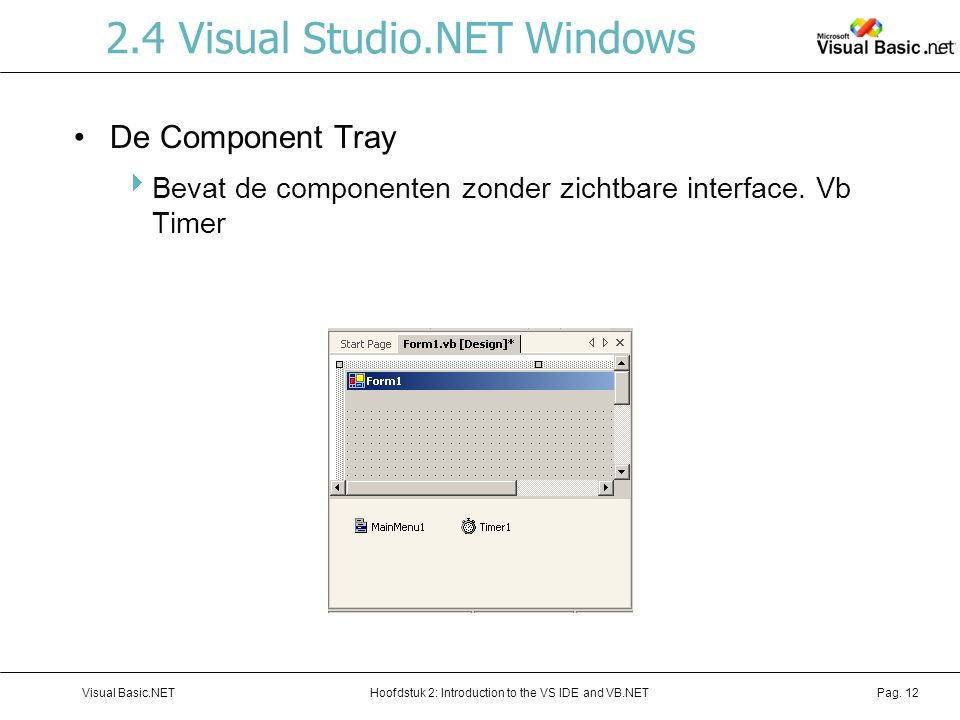 Hoofdstuk 2: Introduction to the VS IDE and VB.NETVisual Basic.NETPag. 12 2.4 Visual Studio.NET Windows De Component Tray  Bevat de componenten zonde