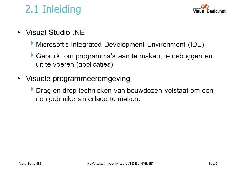 Hoofdstuk 2: Introduction to the VS IDE and VB.NETVisual Basic.NETPag. 2 2.1 Inleiding Visual Studio.NET  Microsoft's Integrated Development Environm