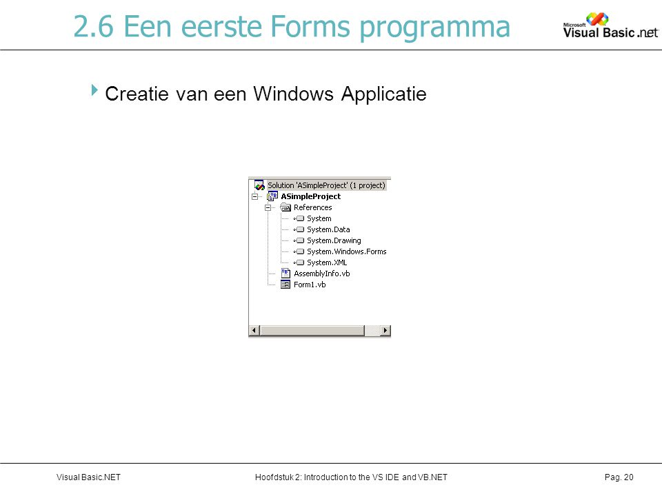 Hoofdstuk 2: Introduction to the VS IDE and VB.NETVisual Basic.NETPag. 20 2.6 Een eerste Forms programma  Creatie van een Windows Applicatie