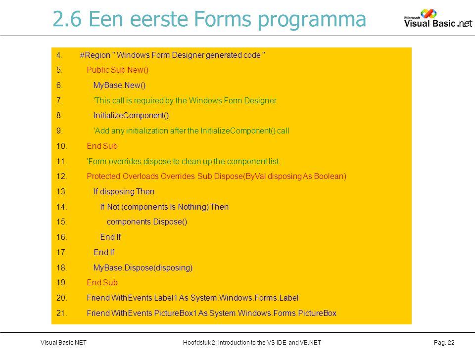 Hoofdstuk 2: Introduction to the VS IDE and VB.NETVisual Basic.NETPag. 22 2.6 Een eerste Forms programma Code Regions –Bevat door Windows For Designer