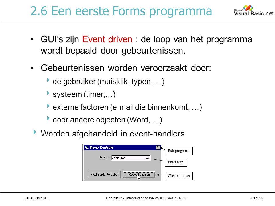 Hoofdstuk 2: Introduction to the VS IDE and VB.NETVisual Basic.NETPag. 28 2.6 Een eerste Forms programma GUI's zijn Event driven : de loop van het pro