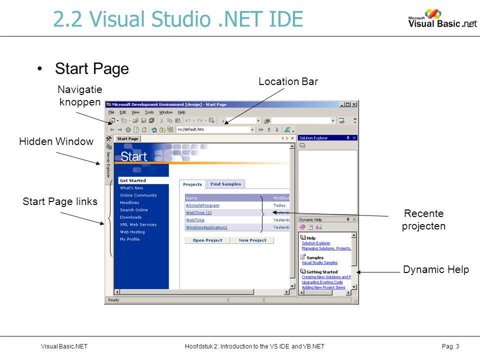 Hoofdstuk 2: Introduction to the VS IDE and VB.NETVisual Basic.NETPag. 3 2.2 Visual Studio.NET IDE Start Page Location Bar Hidden Window Navigatie kno