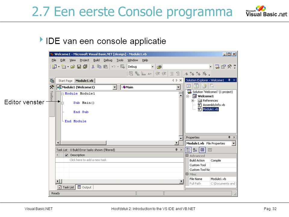 Hoofdstuk 2: Introduction to the VS IDE and VB.NETVisual Basic.NETPag. 32 2.7 Een eerste Console programma  IDE van een console applicatie Editor ven