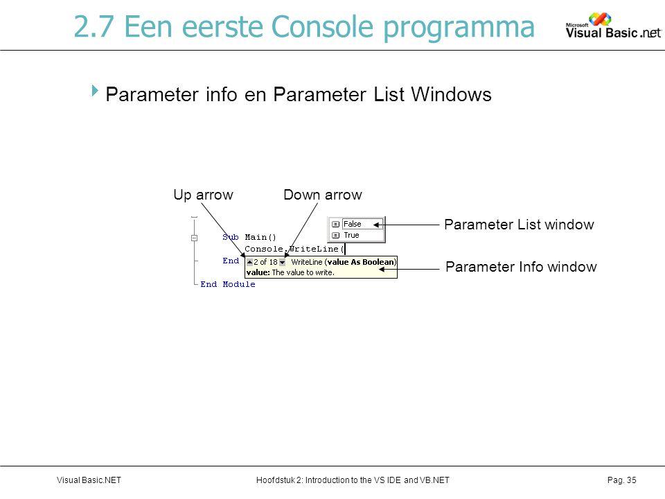 Hoofdstuk 2: Introduction to the VS IDE and VB.NETVisual Basic.NETPag. 35 2.7 Een eerste Console programma  Parameter info en Parameter List Windows