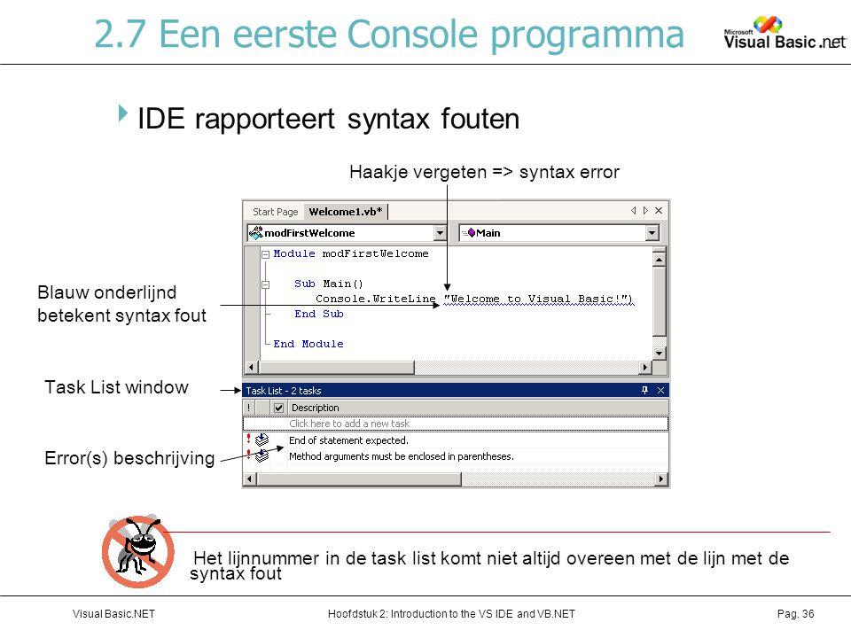 Hoofdstuk 2: Introduction to the VS IDE and VB.NETVisual Basic.NETPag. 36 2.7 Een eerste Console programma  IDE rapporteert syntax fouten Het lijnnum
