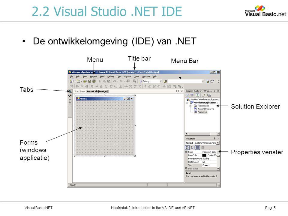 Hoofdstuk 2: Introduction to the VS IDE and VB.NETVisual Basic.NETPag. 5 2.2 Visual Studio.NET IDE De ontwikkelomgeving (IDE) van.NET Menu Bar Title b