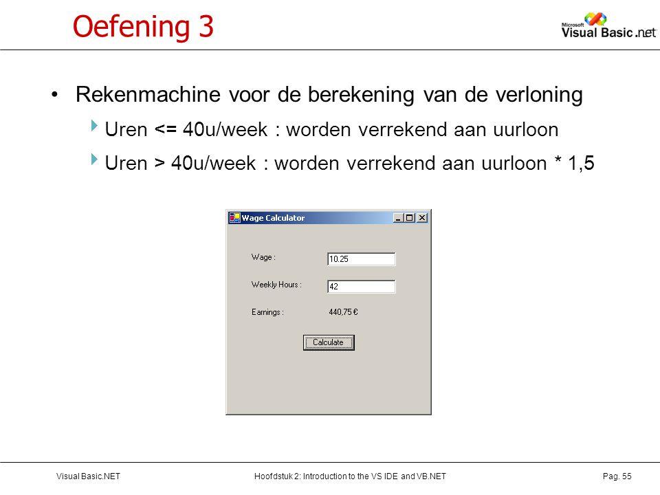 Hoofdstuk 2: Introduction to the VS IDE and VB.NETVisual Basic.NETPag. 55 Oefening 3 Rekenmachine voor de berekening van de verloning  Uren <= 40u/we