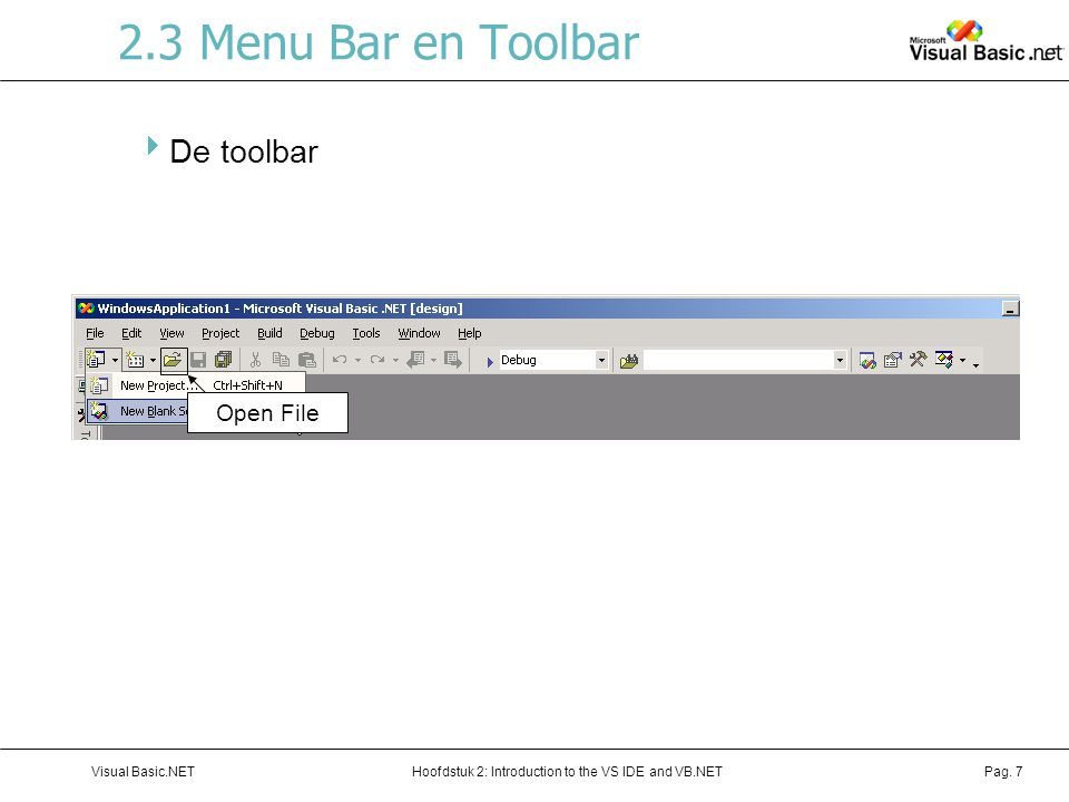 Hoofdstuk 2: Introduction to the VS IDE and VB.NETVisual Basic.NETPag. 7 2.3 Menu Bar en Toolbar  De toolbar Open File