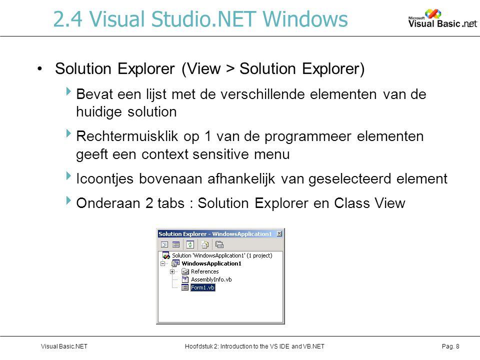 Hoofdstuk 2: Introduction to the VS IDE and VB.NETVisual Basic.NETPag. 8 2.4 Visual Studio.NET Windows Solution Explorer (View > Solution Explorer) 