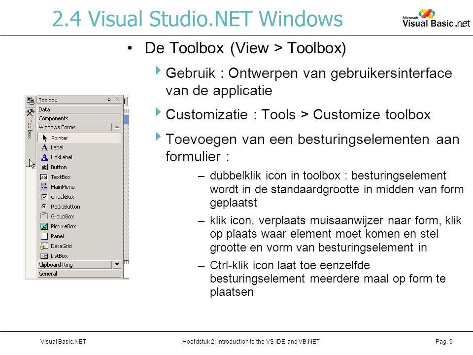 Hoofdstuk 2: Introduction to the VS IDE and VB.NETVisual Basic.NETPag. 9 2.4 Visual Studio.NET Windows De Toolbox (View > Toolbox)  Gebruik : Ontwerp