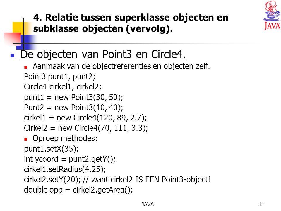 JAVA11 4. Relatie tussen superklasse objecten en subklasse objecten (vervolg).