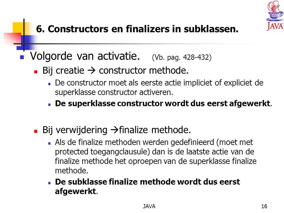 JAVA16 6. Constructors en finalizers in subklassen.