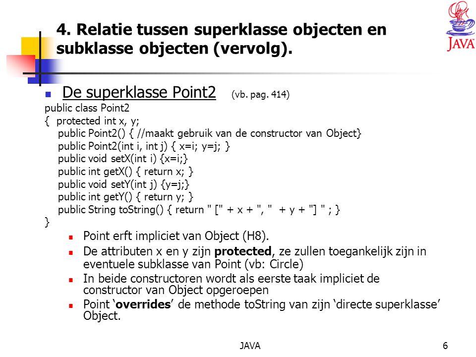 JAVA6 4. Relatie tussen superklasse objecten en subklasse objecten (vervolg).