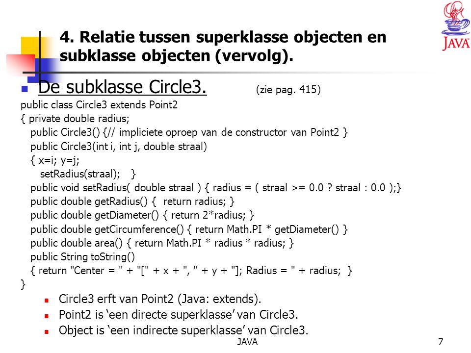 JAVA7 4. Relatie tussen superklasse objecten en subklasse objecten (vervolg).
