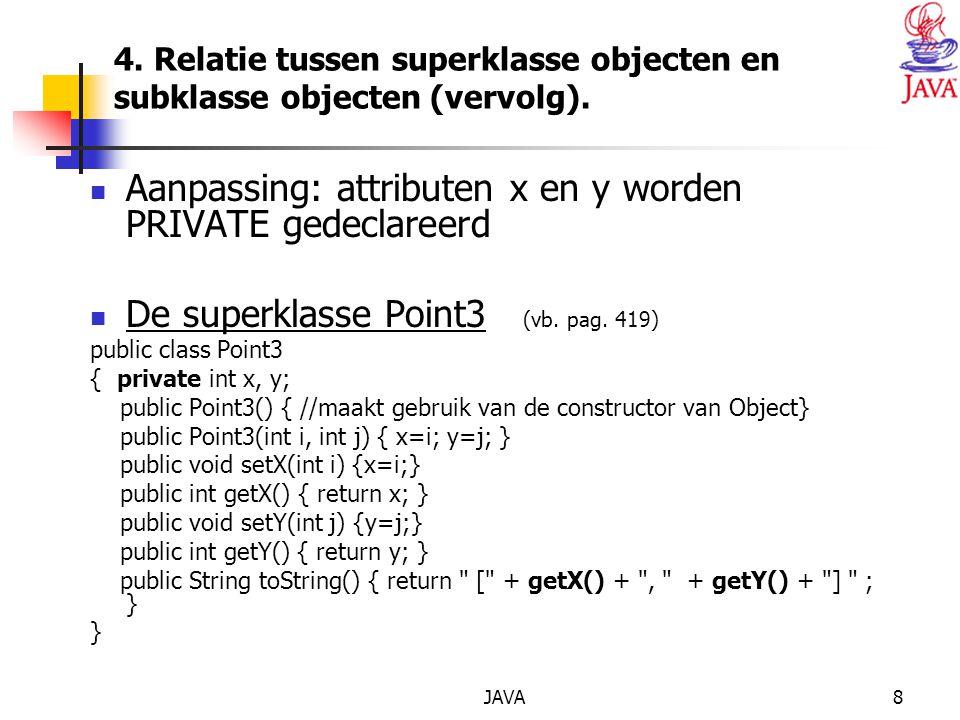 JAVA9 4.Relatie tussen superklasse objecten en subklasse objecten (vervolg).