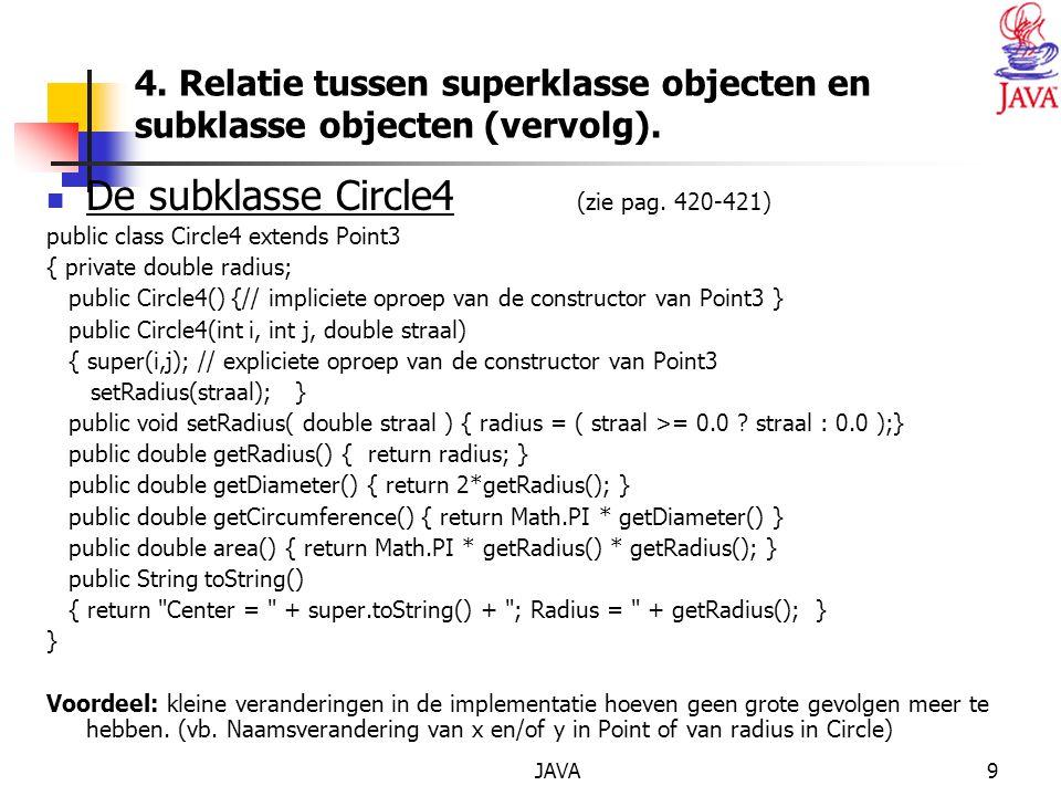 JAVA20 public void setSaldo(double sal) { if (sal < maxKrediet) throw new IllegalArgumentException( Maxkrediet bereikt ); else super.setSaldo(sal); } class SpaarRekening extends Rekening { private static double aangroeiIntrest; public SpaarRekening(long rek, double sal, String houd) { super(rek, sal, houd); } public static void setAangroeiIntrest(double aangroei) { if (aangroei < 0.0) throw new IllegalArgumentException( Intrest negatief ); else aangroeiIntrest = aangroei; }
