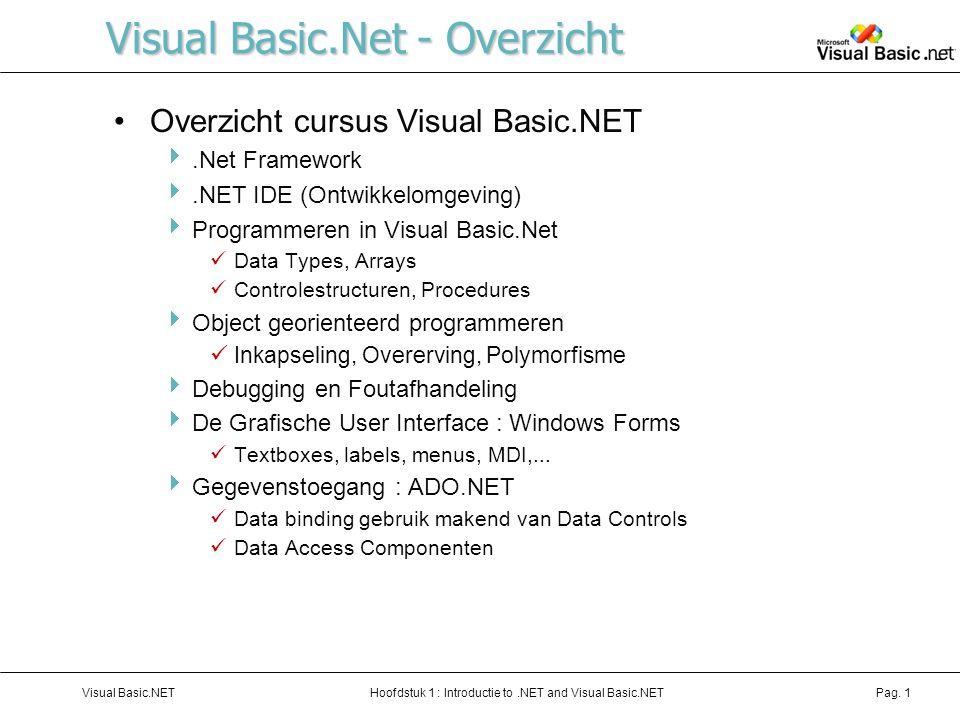 Hoofdstuk 1 : Introductie to.NET and Visual Basic.NETVisual Basic.NETPag.