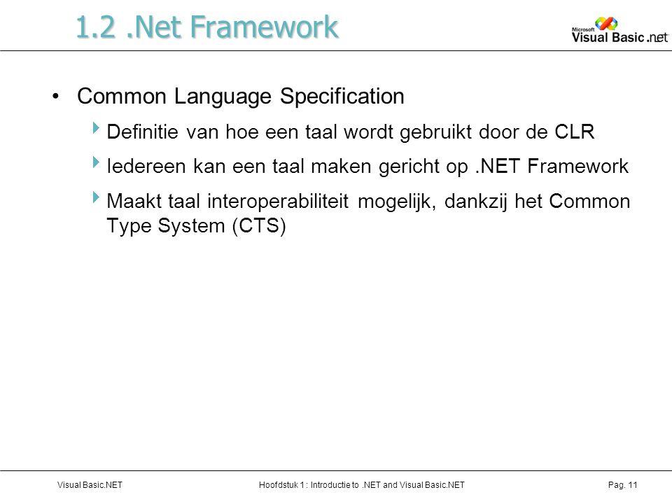 Hoofdstuk 1 : Introductie to.NET and Visual Basic.NETVisual Basic.NETPag. 11 1.2.Net Framework Common Language Specification  Definitie van hoe een t
