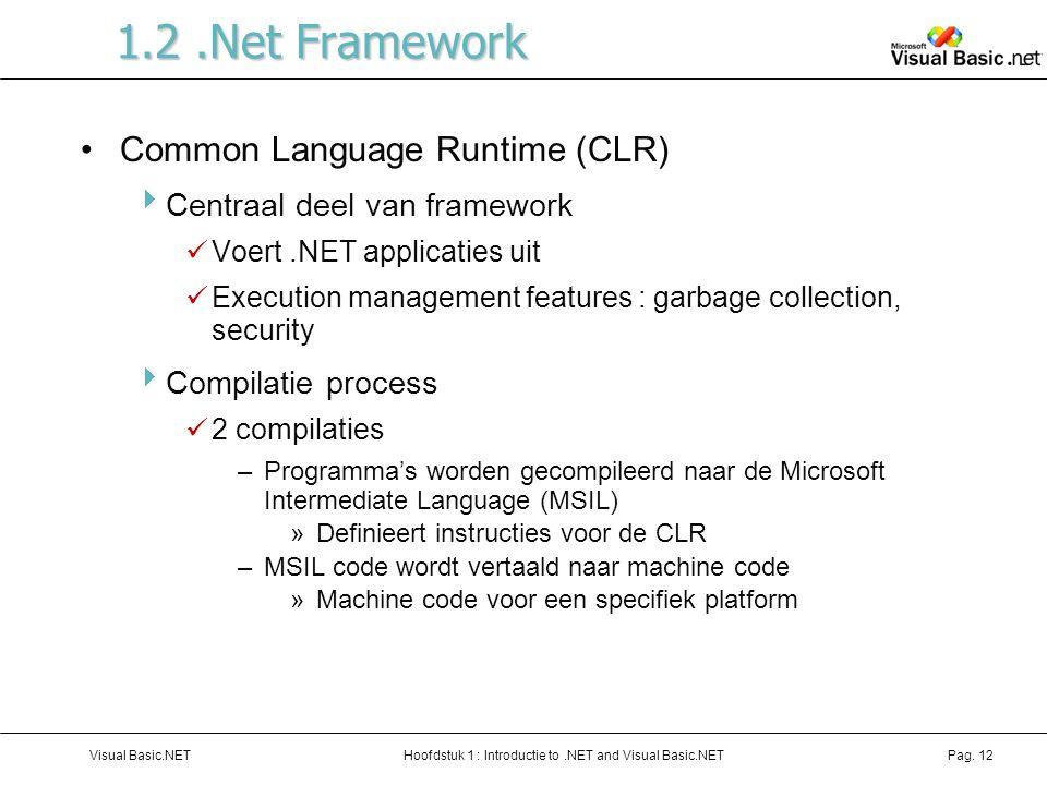 Hoofdstuk 1 : Introductie to.NET and Visual Basic.NETVisual Basic.NETPag. 12 1.2.Net Framework Common Language Runtime (CLR)  Centraal deel van frame