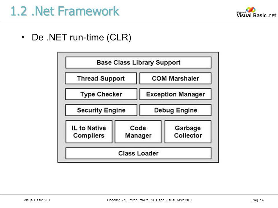 Hoofdstuk 1 : Introductie to.NET and Visual Basic.NETVisual Basic.NETPag. 14 1.2.Net Framework De.NET run-time (CLR)