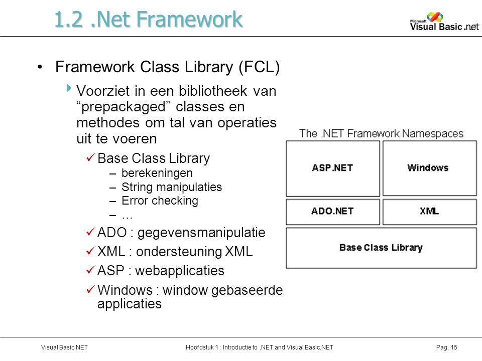 Hoofdstuk 1 : Introductie to.NET and Visual Basic.NETVisual Basic.NETPag. 15 1.2.Net Framework Framework Class Library (FCL)  Voorziet in een bibliot