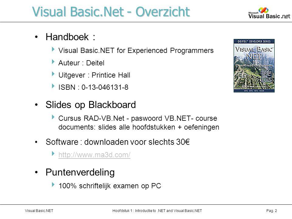 Hoofdstuk 1 : Introductie to.NET and Visual Basic.NETVisual Basic.NETPag. 2 Visual Basic.Net - Overzicht Handboek :  Visual Basic.NET for Experienced