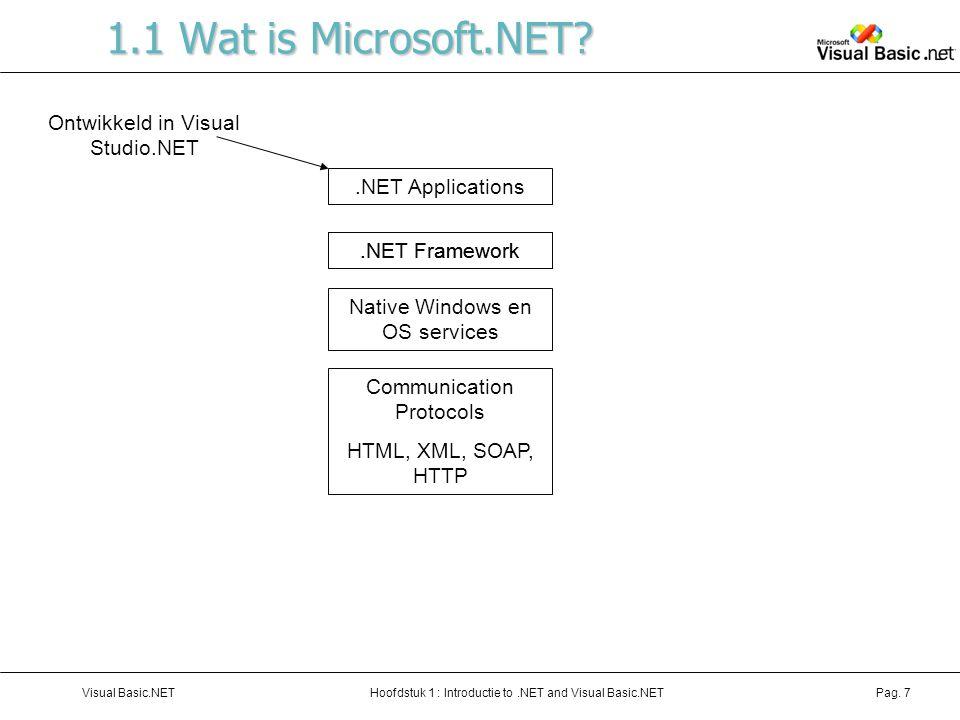 Hoofdstuk 1 : Introductie to.NET and Visual Basic.NETVisual Basic.NETPag. 7 1.1 Wat is Microsoft.NET?.NET Applications.NET Framework Native Windows en