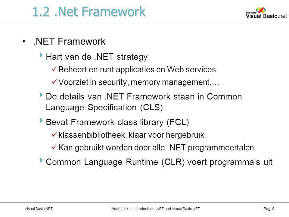 Hoofdstuk 1 : Introductie to.NET and Visual Basic.NETVisual Basic.NETPag. 8 1.2.Net Framework.NET Framework  Hart van de.NET strategy Beheert en runt
