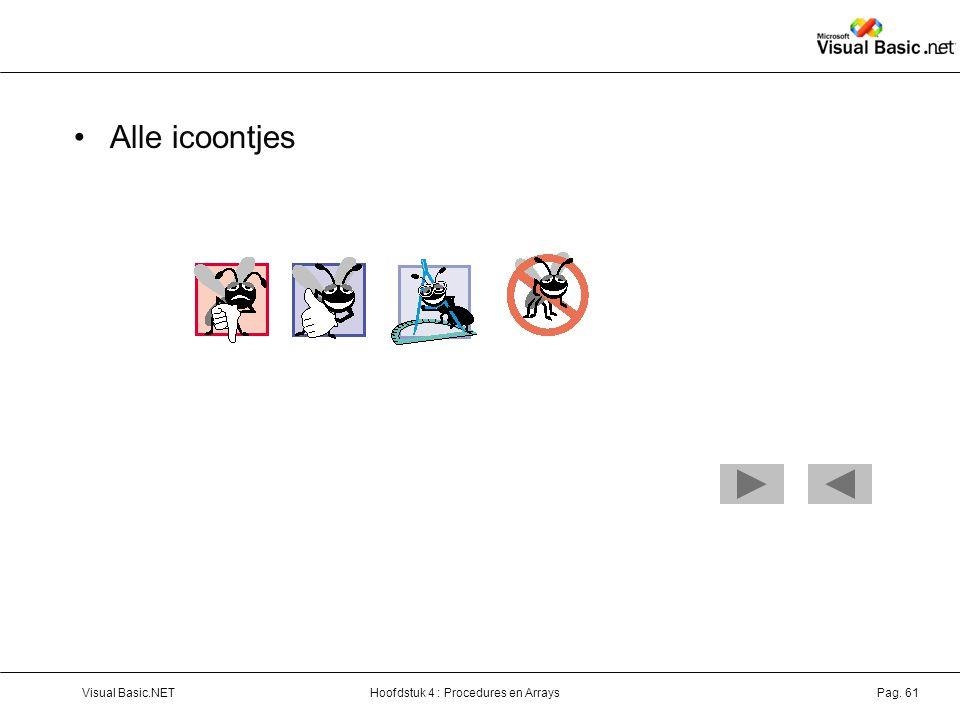 Hoofdstuk 4 : Procedures en ArraysVisual Basic.NETPag. 61 Alle icoontjes