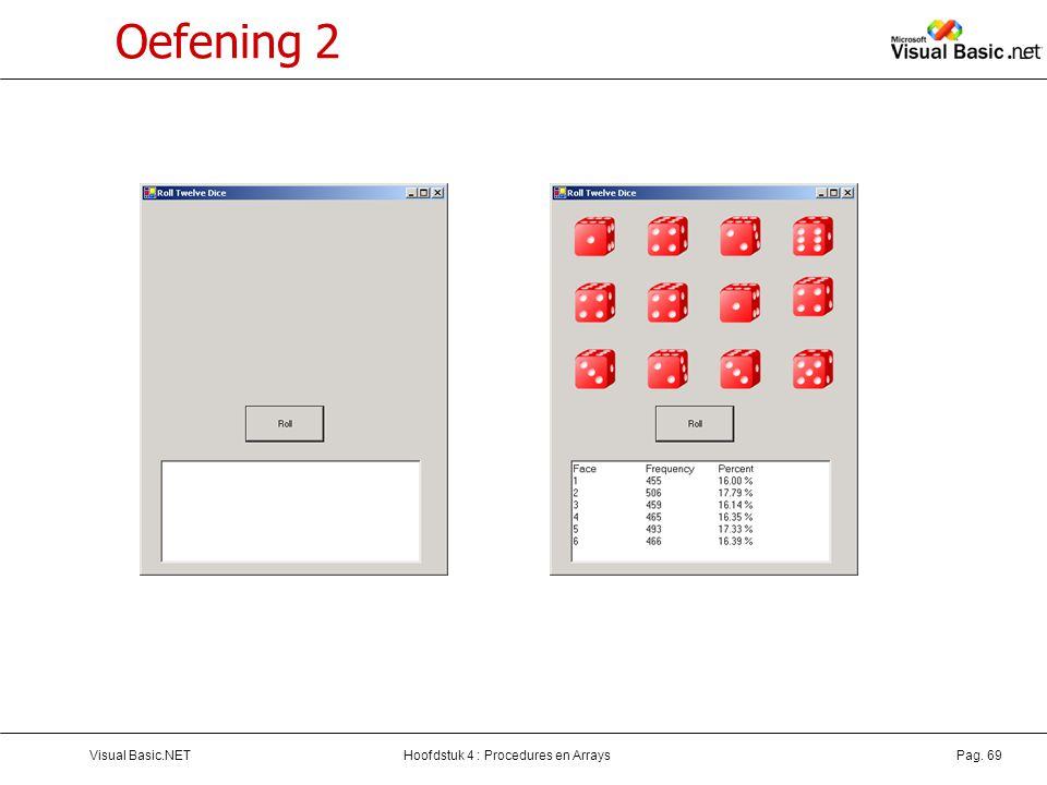 Hoofdstuk 4 : Procedures en ArraysVisual Basic.NETPag. 69 Oefening 2