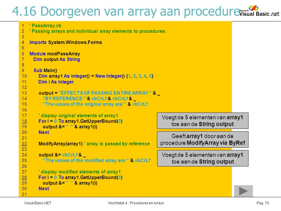 Hoofdstuk 4 : Procedures en ArraysVisual Basic.NETPag. 70 4.16Doorgeven van array aan procedure 1 ' PassArray.vb 2 ' Passing arrays and individual arr
