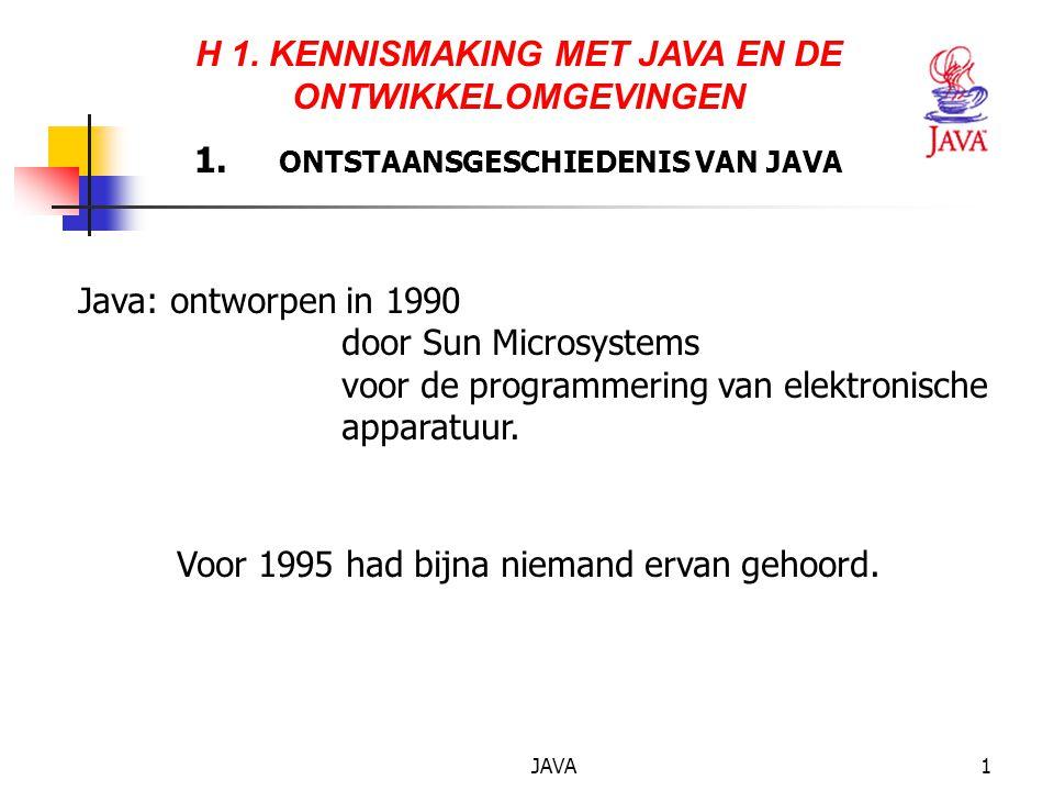 JAVA32 5.BASISELEMENTEN VAN JAVA Een object-georiënteerd programma.