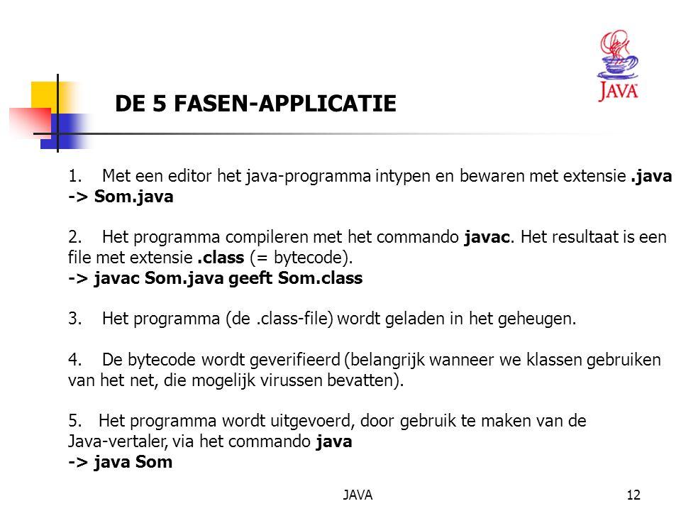 JAVA12 DE 5 FASEN-APPLICATIE 1.Met een editor het java-programma intypen en bewaren met extensie.java -> Som.java 2.Het programma compileren met het commando javac.