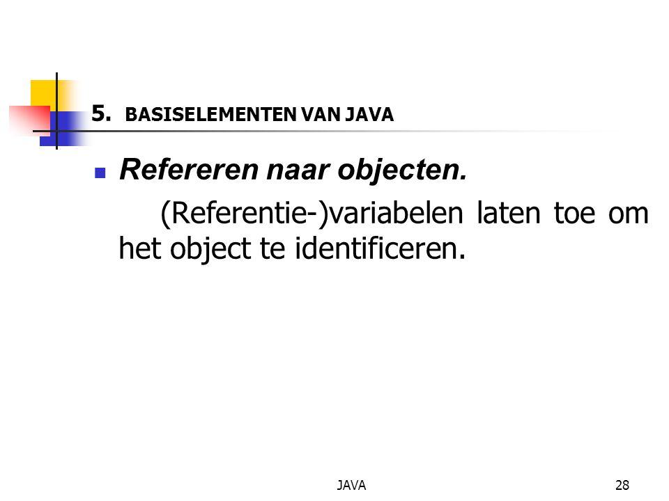 JAVA28 5. BASISELEMENTEN VAN JAVA Refereren naar objecten.