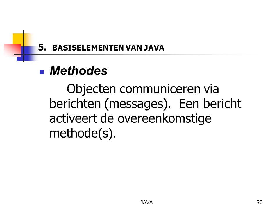 JAVA30 5. BASISELEMENTEN VAN JAVA Methodes Objecten communiceren via berichten (messages).