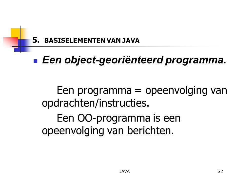 JAVA32 5. BASISELEMENTEN VAN JAVA Een object-georiënteerd programma.