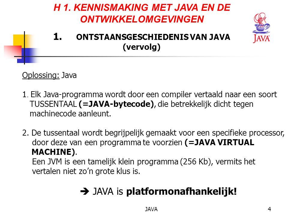 JAVA15 DE 5 FASEN-APPLET (vervolg) 4.Voor de applet wordt uitgevoerd, wordt de bytecode geverifieerd op afwijkende code, gevaarlijke handelingen of virussen.
