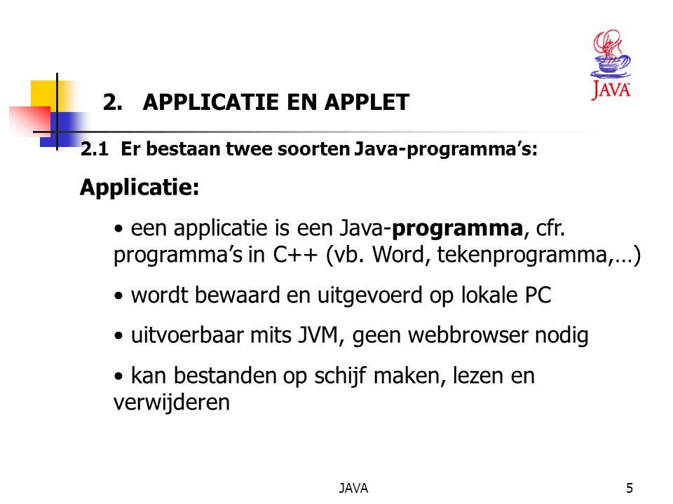 JAVA16 Eerste voorbeeld <APPLET CODE= Applet1.class WIDTH= 426 HEIGHT= 266 > HTML-CODE : Applet1.html