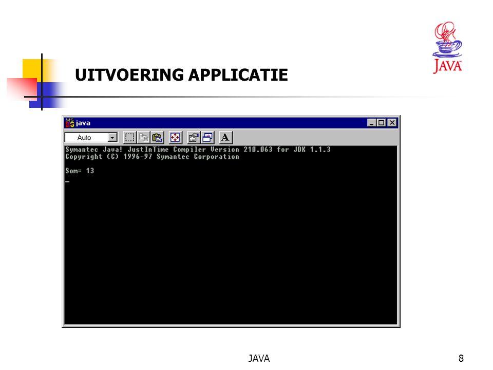 JAVA9 2.3 APPLET - voorbeeld import java.awt.Graphics; import javax.swing.JApplet; public class Applet1 extends JApplet { private Font f = new Font( TimesRoman ,Font.BOLD,36); public void paint(Graphics g) {super.paint(g); g.setFont(f); g.setColor(Color.red); g.drawString( Een bijzonder eenvoudige applet ,20,150); }