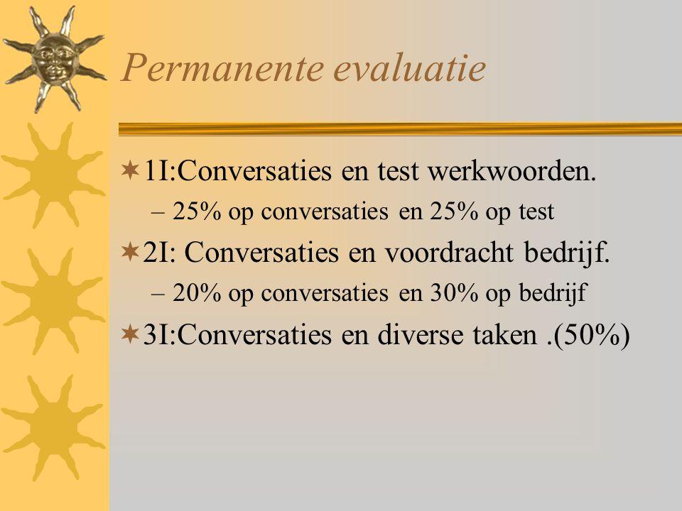 Permanente evaluatie  1I:Conversaties en test werkwoorden. –25% op conversaties en 25% op test  2I: Conversaties en voordracht bedrijf. –20% op conv