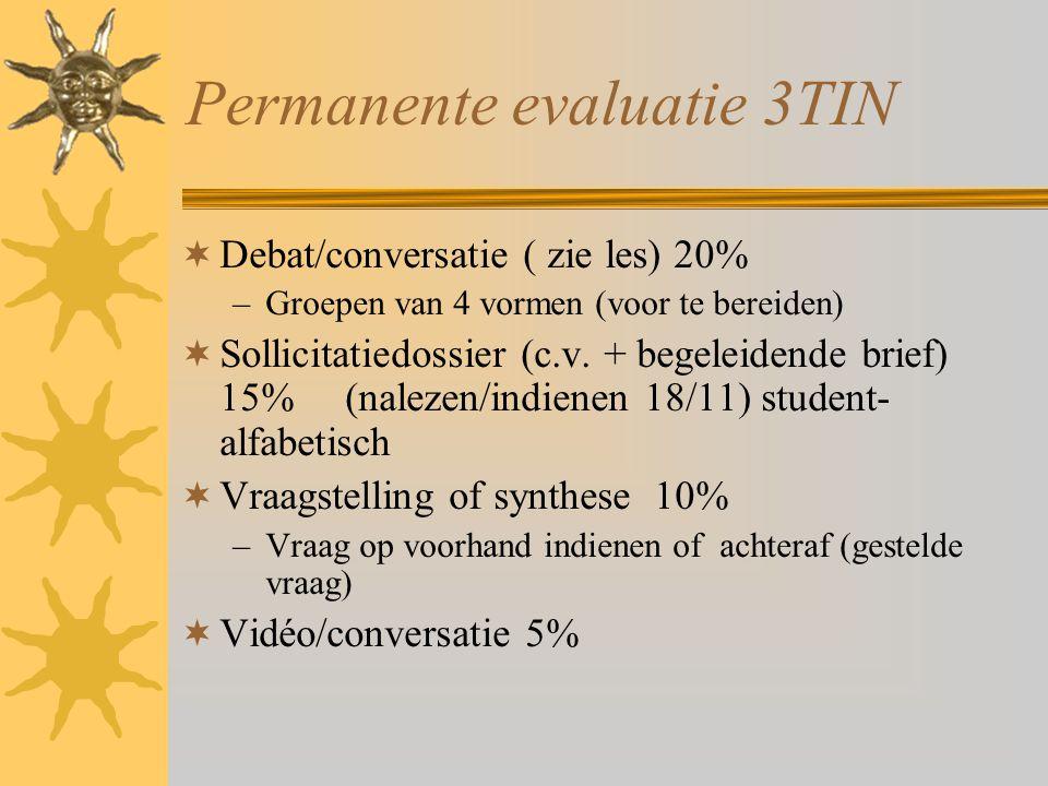 Permanente evaluatie 3TIN  Debat/conversatie ( zie les) 20% –Groepen van 4 vormen (voor te bereiden)  Sollicitatiedossier (c.v. + begeleidende brief