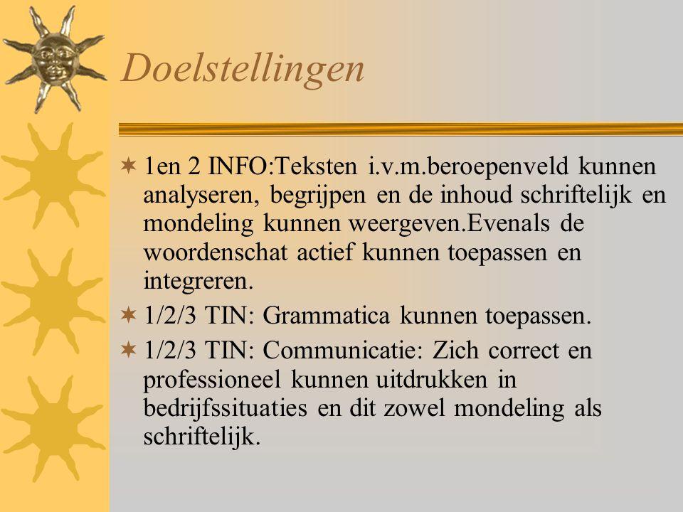 Doelstellingen  1en 2 INFO:Teksten i.v.m.beroepenveld kunnen analyseren, begrijpen en de inhoud schriftelijk en mondeling kunnen weergeven.Evenals de