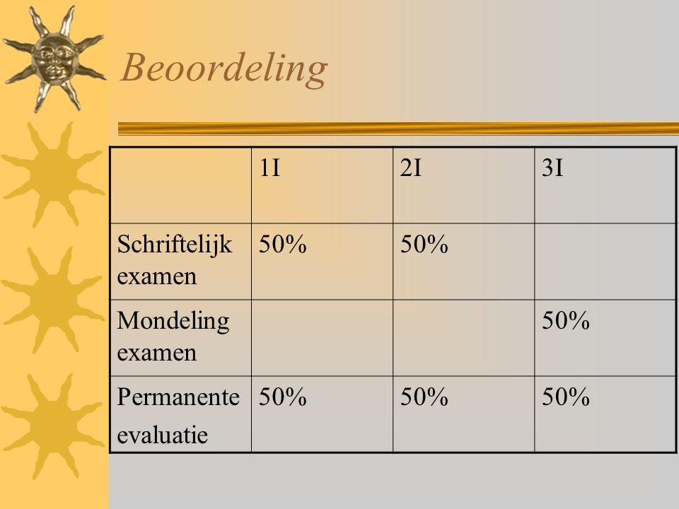 Beoordeling 1I2I3I Schriftelijk examen 50% Mondeling examen 50% Permanente evaluatie 50%