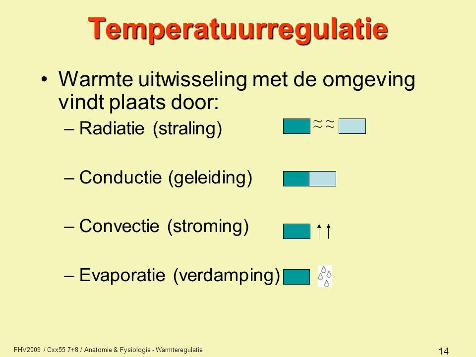 FHV2009 / Cxx55 7+8 / Anatomie & Fysiologie - Warmteregulatie 14Temperatuurregulatie Warmte uitwisseling met de omgeving vindt plaats door: –Radiatie