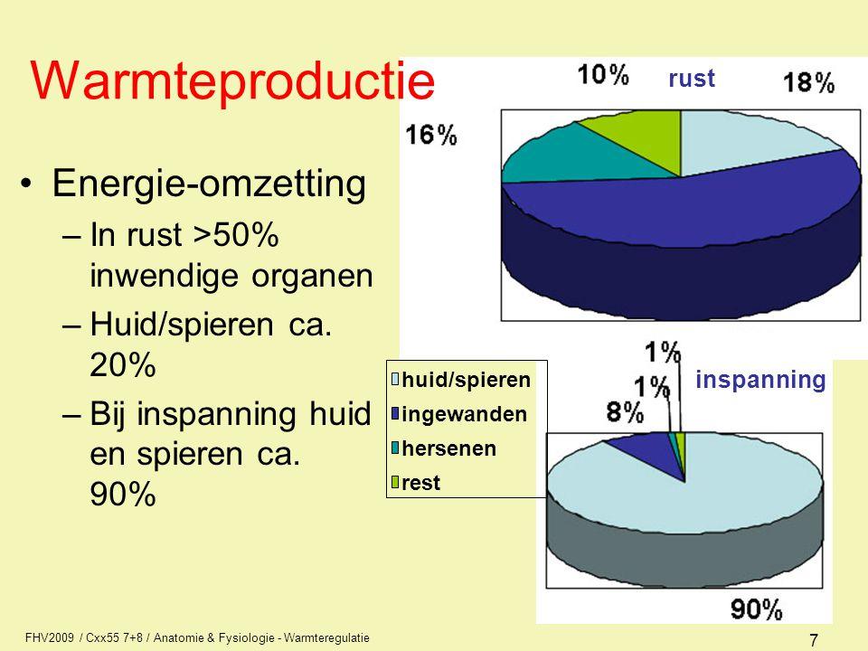 FHV2009 / Cxx55 7+8 / Anatomie & Fysiologie - Warmteregulatie 7 Warmteproductie Energie-omzetting –In rust >50% inwendige organen –Huid/spieren ca.