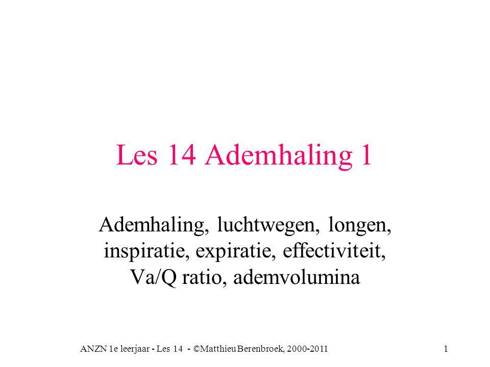 Les 14 Ademhaling 1 Ademhaling, luchtwegen, longen, inspiratie, expiratie, effectiviteit, Va/Q ratio, ademvolumina ANZN 1e leerjaar - Les 14 - ©Matthi
