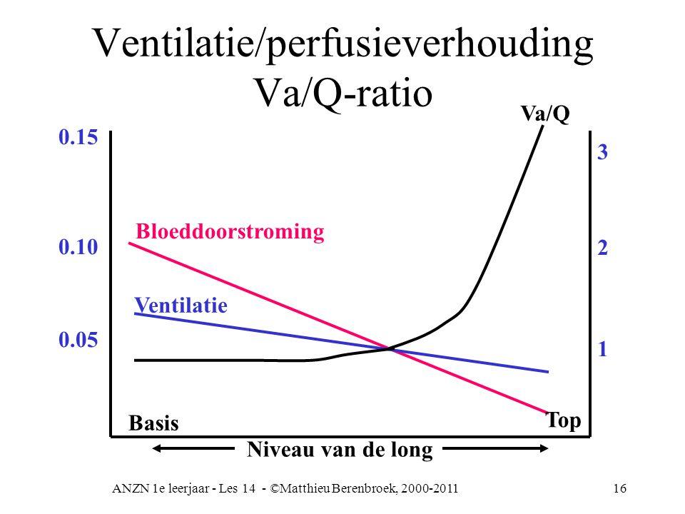 ANZN 1e leerjaar - Les 14 - ©Matthieu Berenbroek, 2000-201116 Ventilatie/perfusieverhouding Va/Q-ratio Bloeddoorstroming Ventilatie Basis 0.15 0.10 0.