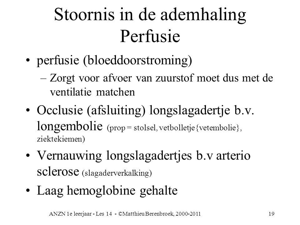 ANZN 1e leerjaar - Les 14 - ©Matthieu Berenbroek, 2000-201119 Stoornis in de ademhaling Perfusie perfusie (bloeddoorstroming) –Zorgt voor afvoer van z